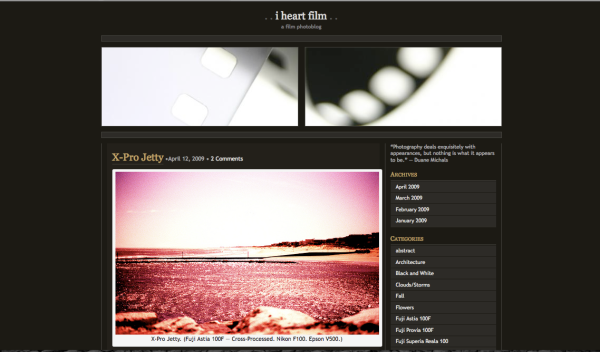 Screenshot of the I Heart Film website. Click on the image to go there.